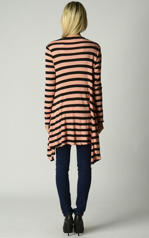 Wow 60% Off! Our Black Wide Stripe Waterfall Cardigan - product image