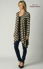Wow 60% Off! Our Black Wide Stripe Waterfall Cardigan - product images 3 of 4