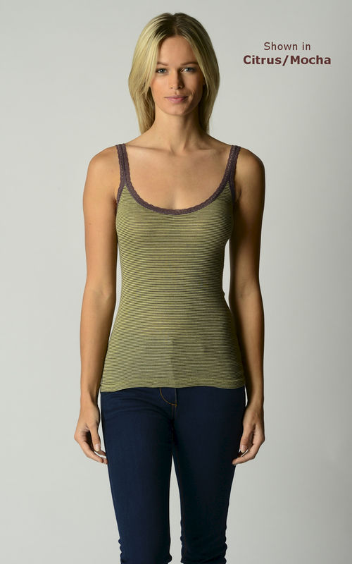 Now 55% Off! Mocha Microstripe and Lace Camisole - product image