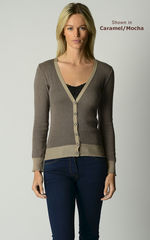 Our Gorgeous Mocha Microstripe Cardigan - product images 1 of 3