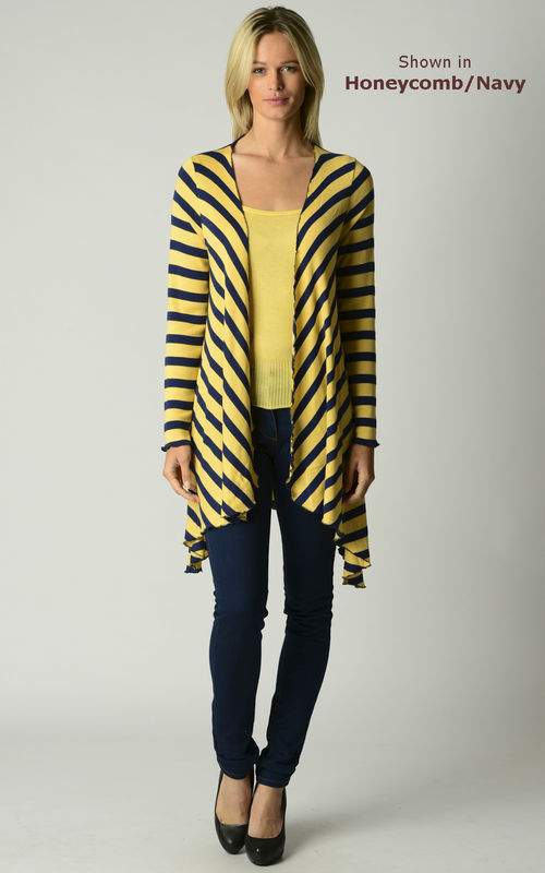 Now 60% Off!! Our Navy Wide Stripe Waterfall Cardigan - product image