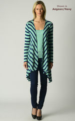 Now 60% Off!! Our Navy Wide Stripe Waterfall Cardigan - product images 7 of 8