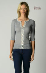 A Fabulous 50% Off!! Our Gypsy Lace Trim 3/4 Sleeve Cardigan - product images 2 of 3