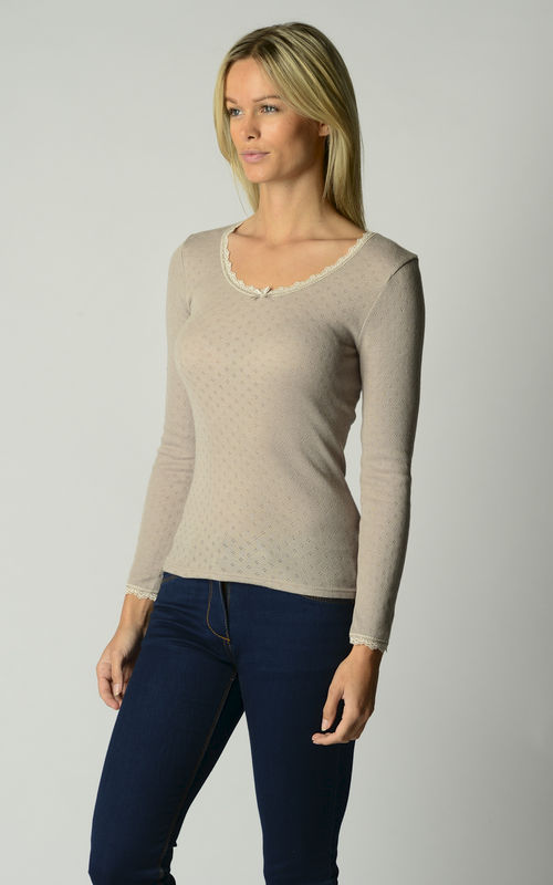 Now 60% Off!! Our Brushed Thermal Scallop Lace Top - product image