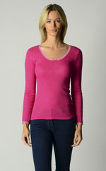 Now 60% Off!! Vibrant Colours In Our Scallop Lace Top - product images 1 of 4