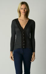 Now 30% Off!! Black Wide Lace Cardigan and Camisole Set - product images 1 of 2
