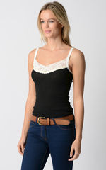 Now 75% Off!! Our Cream Velvet & Lace Camisole - product images 2 of 4