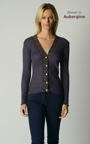 FLASH,SALE,50%,OFF!!!,Our,Mocha,Wide,Lace,High,Rib,Cardigan,Wide Lace Trim, V Cardigan, Lace Cardigan, Lace Trim Cardigan, Palace London, Ladies Knitwear, Pointelle Knitwear