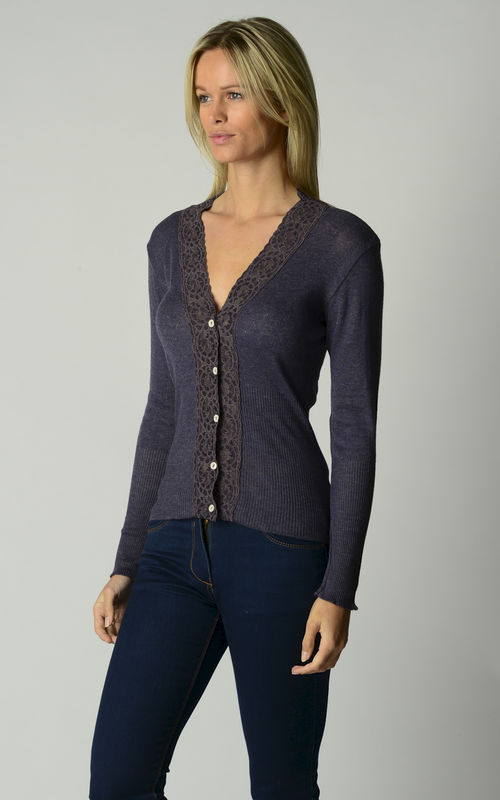Now 50% OFF!!! Our Mocha Wide Lace High Rib Cardigan - product image