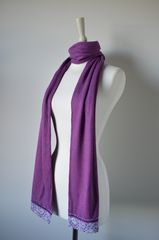 NOW 60% Off!! Our Exclusive Wide Lace & Ribbon Trim Scarf - product images 4 of 5