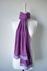 NOW 60% Off!! Our Exclusive Wide Lace & Ribbon Trim Scarf - product images 5 of 5