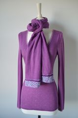 NOW 60% Off!! Our Exclusive Wide Lace & Ribbon Trim Scarf - product images 1 of 5