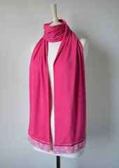 NOW 40% Off !! Our Exclusive Wide Lace & Ribbon Trim Scarf - product images 3 of 5