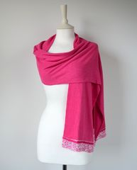 NOW 40% Off !! Our Exclusive Wide Lace & Ribbon Trim Scarf - product images  of