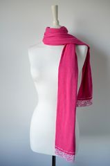 NOW 40% Off !! Our Exclusive Wide Lace & Ribbon Trim Scarf - product images 5 of 5