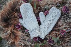 Now 50% Off - Hand Knitted Aran Mittens in Chocolate - product images 2 of 3