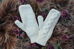 Now 50% Off - Hand Knitted Aran Mittens in Cream - product images 2 of 3
