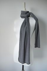 Wow Over 60% Off! Our Black Micro Stripe Knit Super Soft Scarf in White - product images 4 of 5