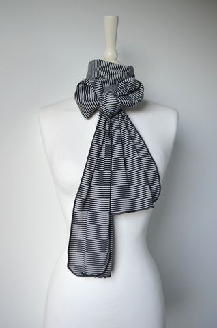 Black,Micro,Stripe,Knit,Super,Soft,Scarf,in,White,palace london, palace, scarf, knitted scarf, pointelle, fine knit, striped scarf