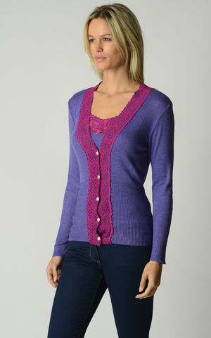 FLASH,SALE,60%,Off!,Our,Fuchsia,Lace,Cardigan,Wide Lace Trim, V Cardigan, Lace Cardigan, Lace Trim Cardigan, Palace London, Ladies Knitwear, Pointelle Knitwear