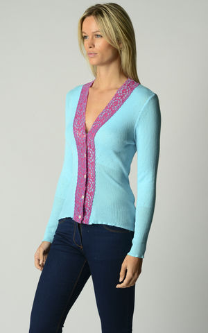 FLASH,SALE,45%,Off!,Our,Fuchsia,Lace,Cardigan,Wide Lace Trim, V Cardigan, Lace Cardigan, Lace Trim Cardigan, Palace London, Ladies Knitwear, Pointelle Knitwear