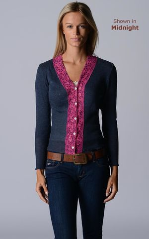 Our,Fuchsia,Wide,Lace,Cardigan,Wide Lace Trim, V Cardigan, Lace Cardigan, Lace Trim Cardigan, Palace London, Ladies Knitwear, Pointelle Knitwear