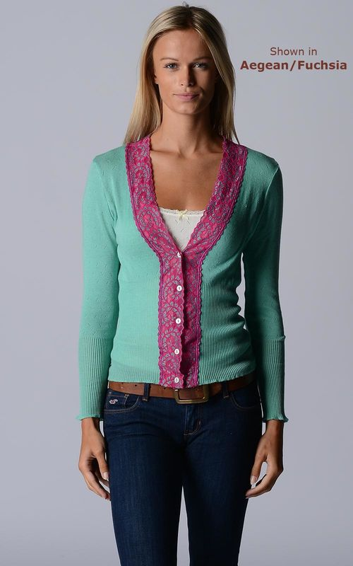 FLASH SALE 55% Off! Our Fuchsia Lace High Rib Cardigan - product image