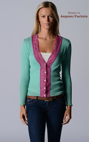 Our,Fuchsia,Lace,High,Rib,Cardigan,Wide Lace Trim, V Cardigan, Lace Cardigan, Lace Trim Cardigan, Palace London, Ladies Knitwear, Pointelle Knitwear