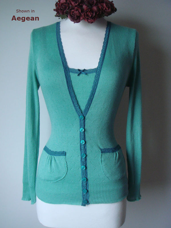 Now 50% Off!! Our Jade Lace Trim Camisole & Cardigan - product image