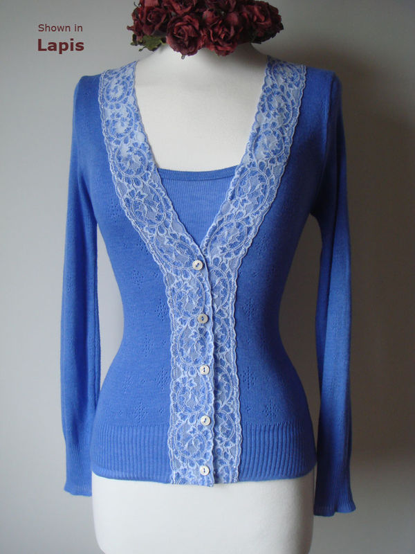 Now 30% Off! Classic Wide Lace Cardigan and Plain Knit Camisole Set - product image
