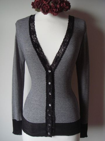 Black,Microstripe,&,Lace,Cardigan, Cardigan, Lace Trim, Lace cardigan, Lace trim cardigan, palace, palace lace cardigan, palace london