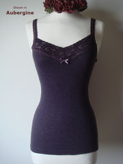 Now 30% Off!! Our Mocha Wide Lace Microstripe Camisole - product images 2 of 2