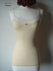 Now 30% Off!! Cream Velvet Lace Camisole and Cardigan Set - product images 9 of 11