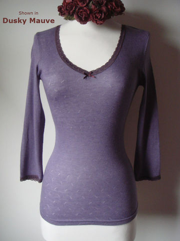Our,Mocha,Narrow,Lace,V,Neck,Top,lace top, lace trim top, pointelle knit, Palace London, ladies knitwear,thermal