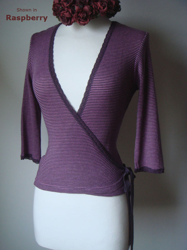 Now 35% Off!! Our Mocha Microstripe & Lace Ballet Wrap Cardigan - product image