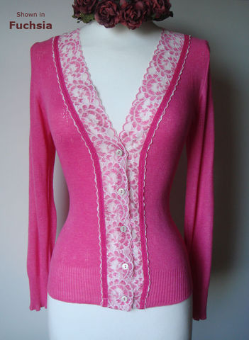 Now,33%,Off!,Cotton,Ribbon,Trim,Wide,Lace,Cardigan,Ribbon Trim, Wide Lace, Pointelle, Lace Trim Cardigan, Lace Cardigan