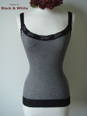 Wow 60% Off! Black Microstripe & Lace Camisole - product images 1 of 3