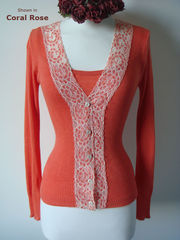 Now 30% Off! Classic Wide Lace Cardigan and Plain Knit Camisole Set - product images 1 of 4