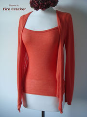 Wow 55% Off! Tramline Knit Tie Wrap Cardigan & Plain Knit Camisole Set - product images 7 of 9
