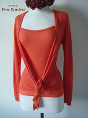 Wow 55% Off! Tramline Knit Tie Wrap Cardigan & Plain Knit Camisole Set - product images 8 of 9