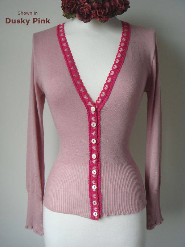 More than 60% Off!! Our Fuchsia Heart Lace Short Style Cardigan - product image