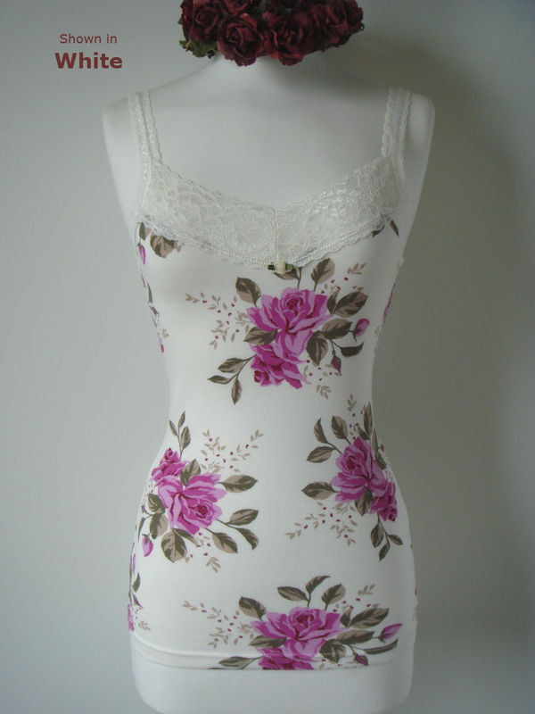 Now Over 40% Off!  Vintage Rose Print Classic Wide Lace Camisole - product image