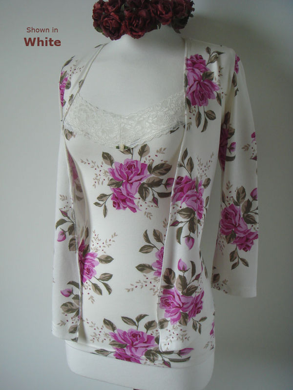 FLASH SALE 50% Off!! Vintage Rose Print Lace Camisole & Tie Cardigan Set - product image