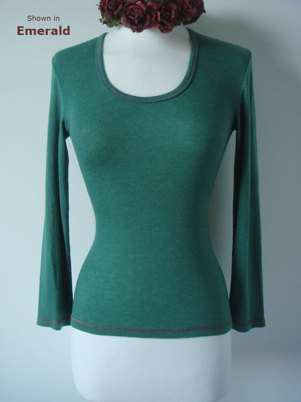 Now 65% Off !! Our Contrast Stitch Petite Style Scoop Neck Top - product image