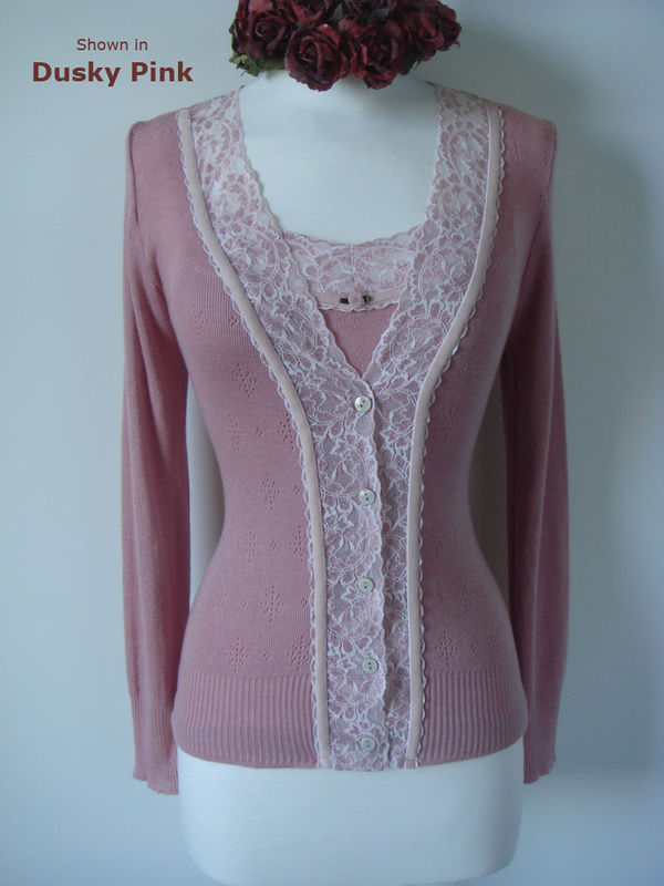 Now 30% Off!! Cream Velvet Lace Camisole and Cardigan Set - product image