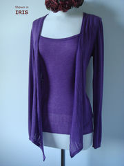 Wow 55% Off! Tramline Knit Tie Wrap Cardigan & Plain Knit Camisole Set - product images 5 of 9