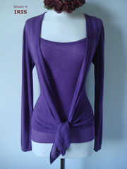 Wow 55% Off! Tramline Knit Tie Wrap Cardigan & Plain Knit Camisole Set - product images 4 of 9