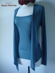 Wow 55% Off! Tramline Knit Tie Wrap Cardigan & Plain Knit Camisole Set - product images 1 of 9