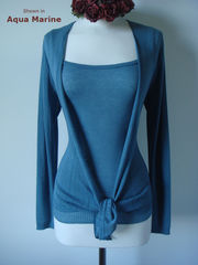 Wow 55% Off! Tramline Knit Tie Wrap Cardigan & Plain Knit Camisole Set - product images 2 of 9