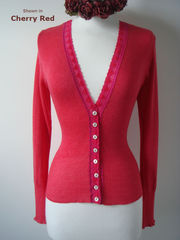 More than 60% Off!! Our Fuchsia Heart Lace Short Style Cardigan - product images 1 of 3